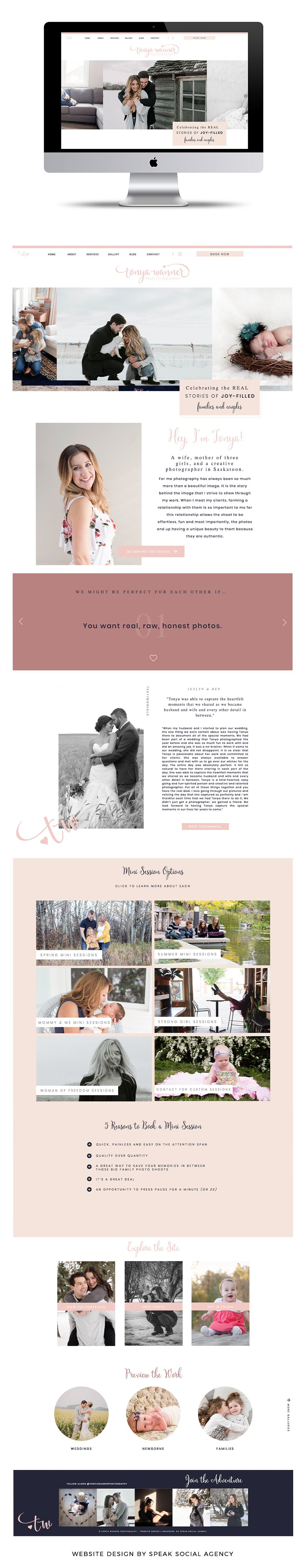 Showit website design for photographer - feminine, pink website for newborn, maternity and family photographer