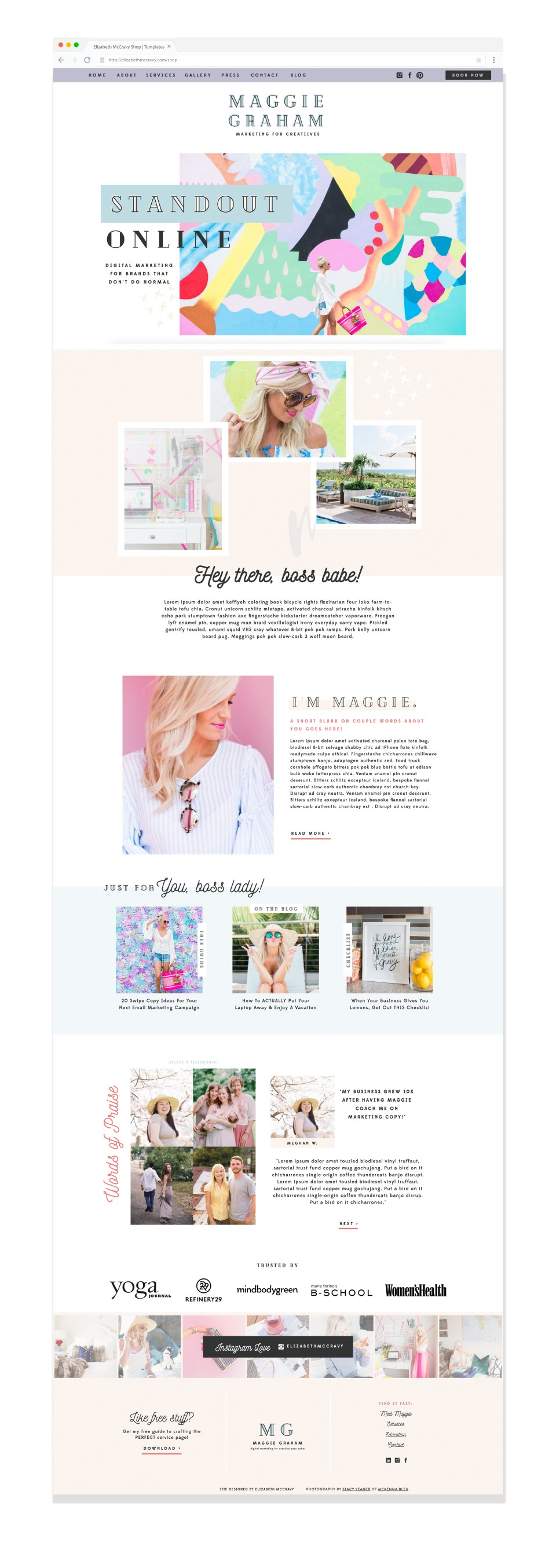 Maggie website template by EM Shop - quirky and fun business coach websites