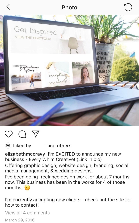 Instagram post announcing Elizabeth McCravy's business launch.