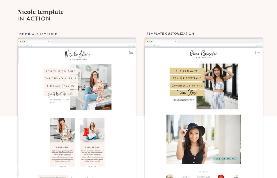 See the Nicole Blake template in ACTION! This Showit template is perfect for coaches, photographers, educators, and consultants. See how Grace Rennaker used it for her senior portrait business!