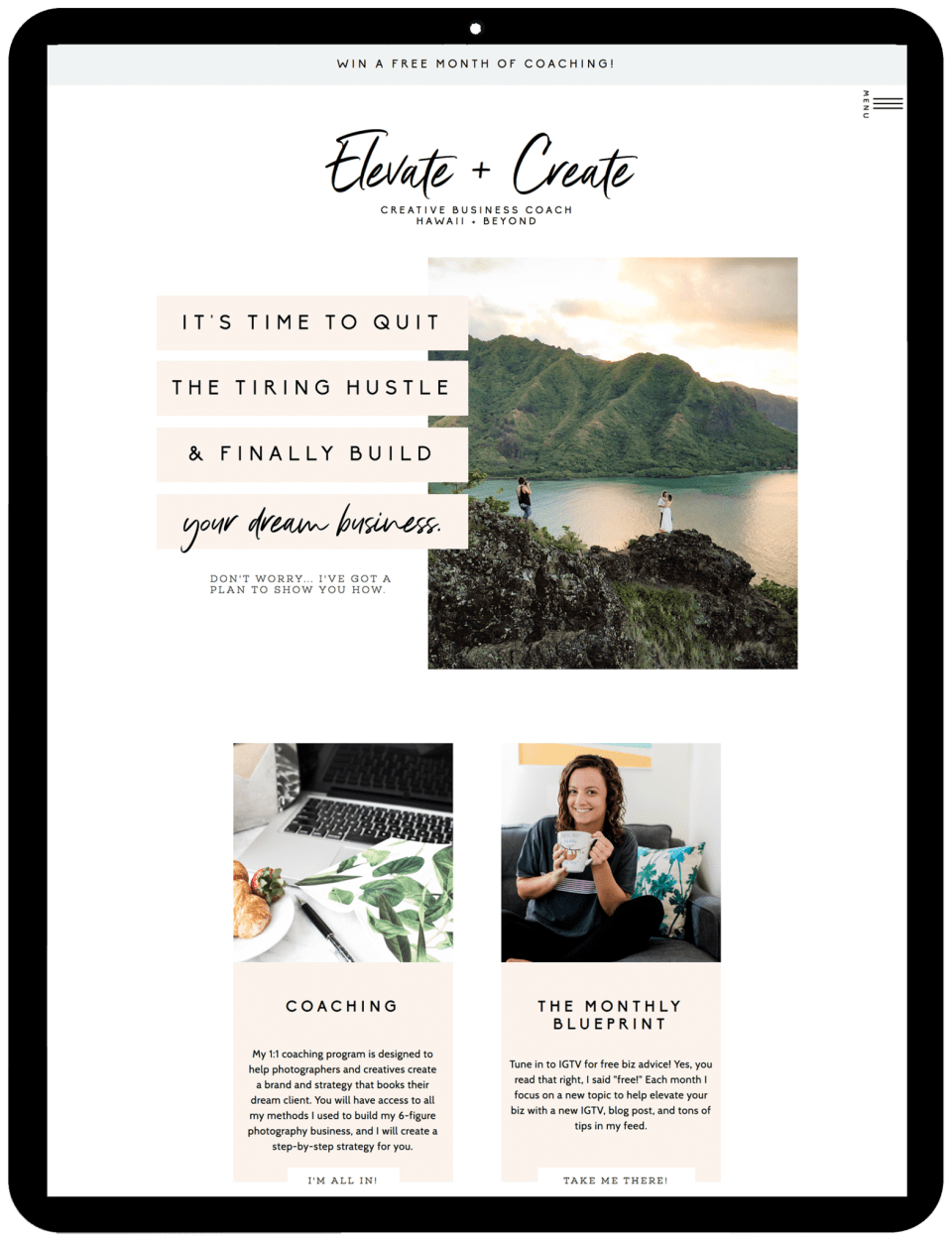 Elevate & Create is a educator to photographers! Chelsea used the Nicole Blake template by EM Shop to create her website, and she set it all up in less than a week!