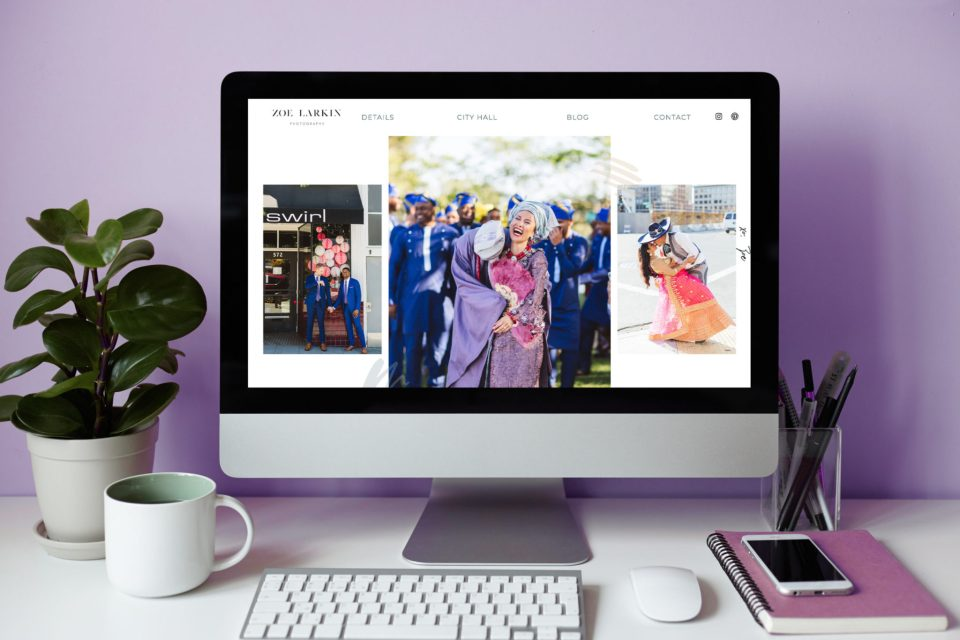 Beautiful Showit website template for San Francisco wedding photographer, Zoe Larkin.