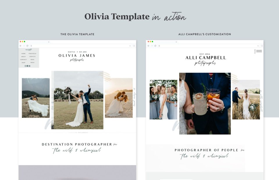 Photographer Alli Campbell using the Olivia Showit template for photographers designed by Elizabeth McCravy.