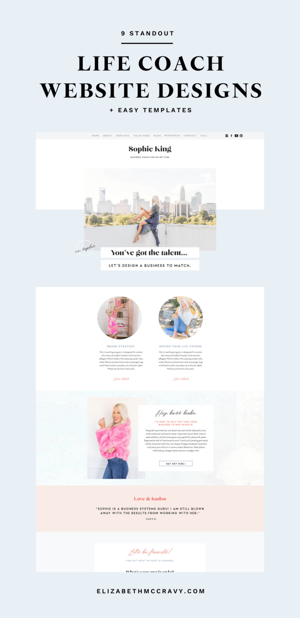 The Sophie template from EM Shop is one of the best templates for life coach websites.