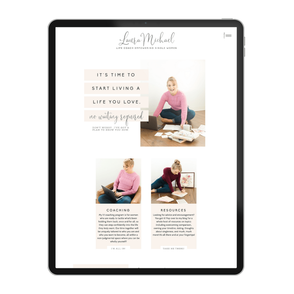 See Laura Michael's life coach web design template from Elizabeth McCravy.