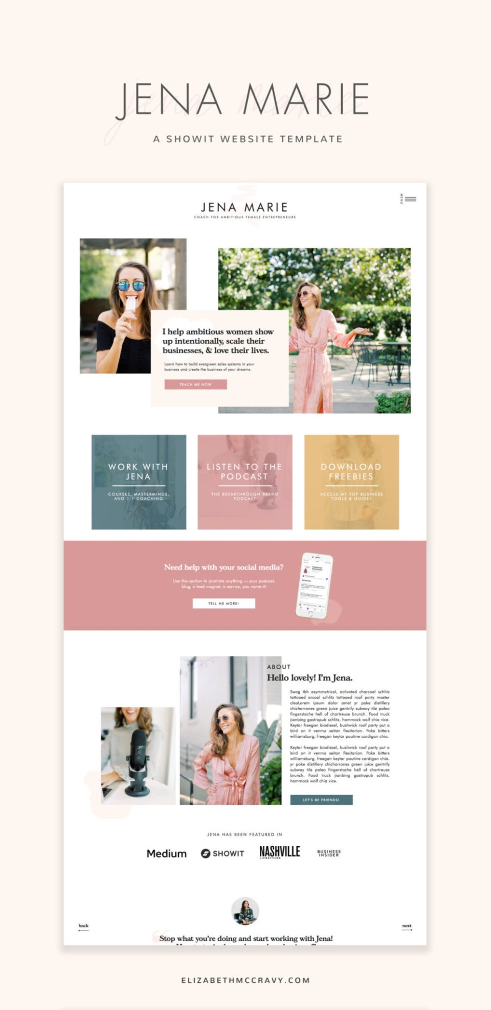 The Jena template is perfect for life coaches.