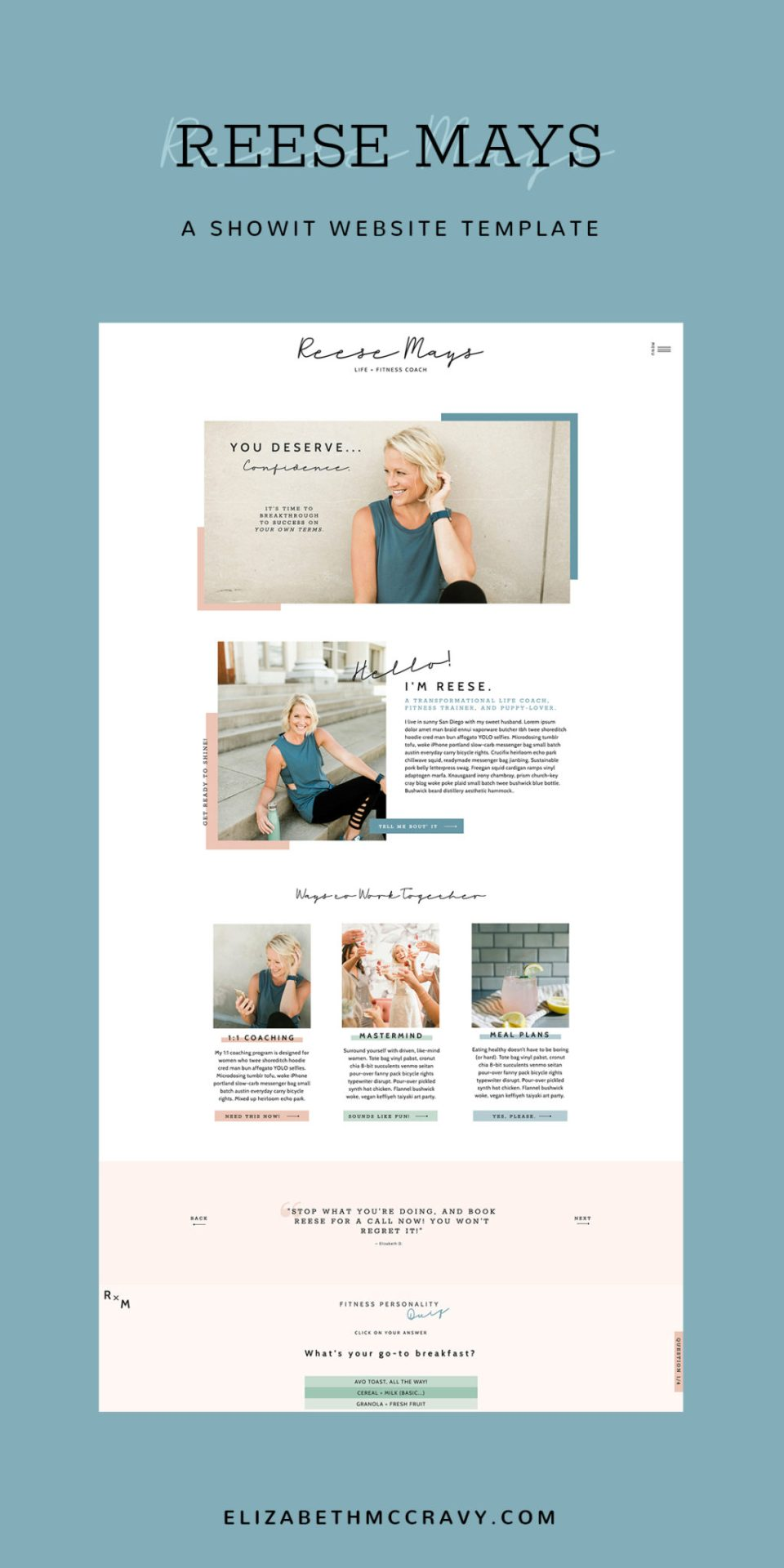 See the Reese template for life coaches from EM Shop.