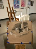 My demo for chiaroscuro drawing using toned paper, drawn while the students observed.