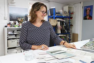 Elizabeth designing in her studio