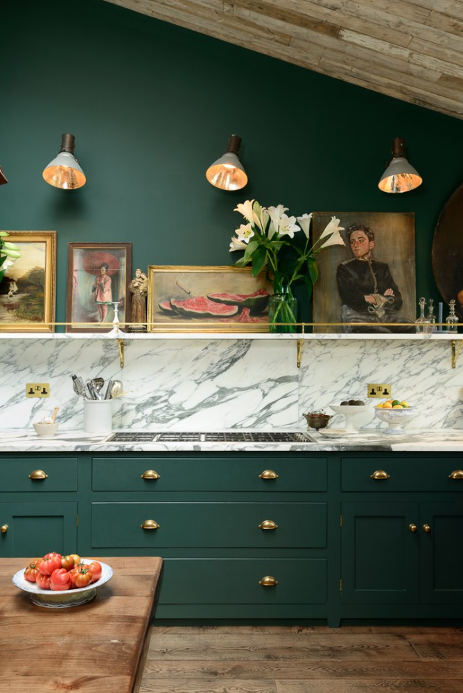 Emerald kitchen with marble workspace