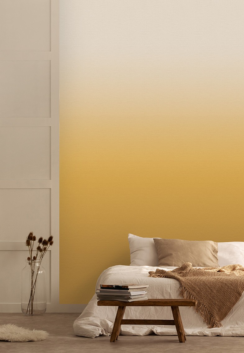 Horizon in the colourway ochre in a bedroom with scandi styling