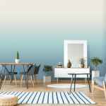 horizon in pale blue colourway in a modern living space with table chairs mantle piece and a rug