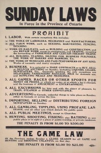 1911 Sunday Laws for Ontario, Canada