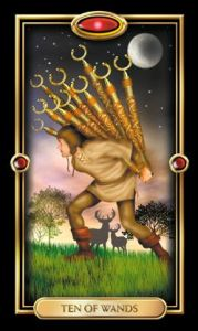 10 of Wands from The Gilded Tarot (by Ciro Marchetti)
