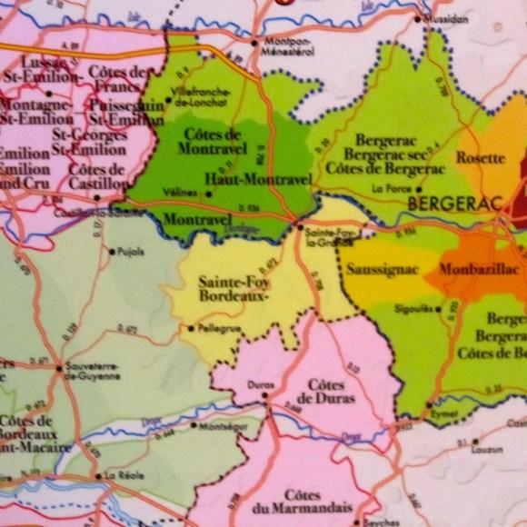 Bergerac Wine Region and adjoining wine areas