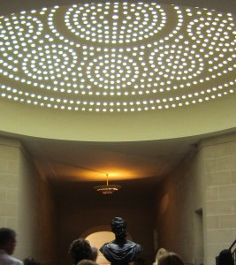 House of Roederer, entrance hall with champagne bubbles overhead and bronze bust of Russian Tsar Alexander 11 in the centre