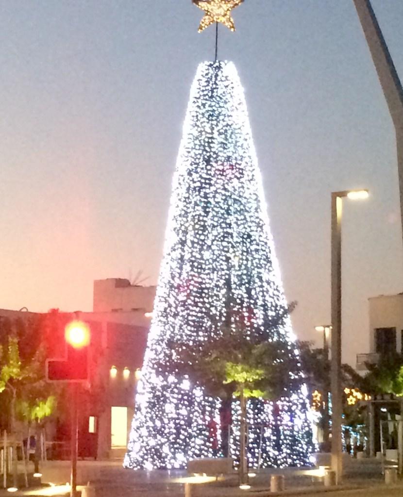 A Christmas tree of lights