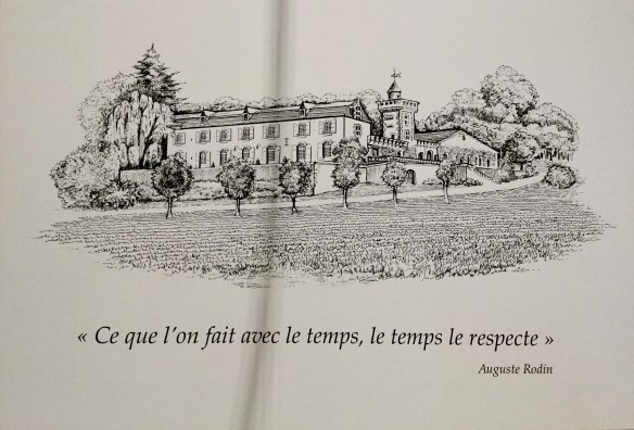 Line drawing of Château Monestier La Tour with the Rodin quote