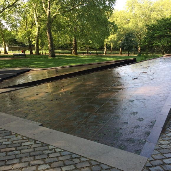 Canada Memorial, Green Park, London, made of Canadian Shields Granite with maple leaves in bronze.