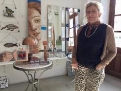 Sharen Taylor with her mosaics
