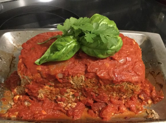 Lamb and Feta Meatloaf with Tomato Sauce