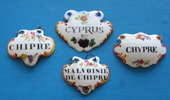 Late 18th Century enamel labels for Cyprus wines, courtesy of Dr. R Wells