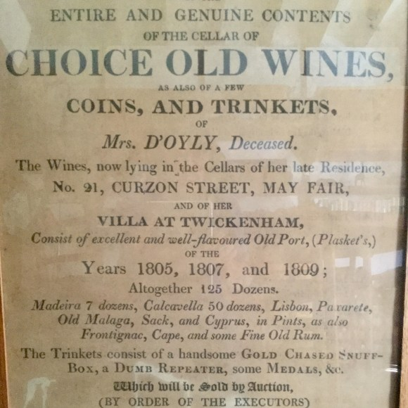 Photo of Mr. Christie's poster advertising Choice Old Wines by auction in 1822.