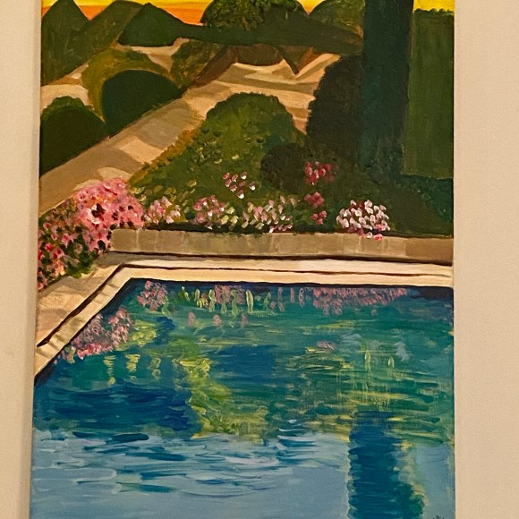 Early evening shadows - a Friends's garden and pool. July 21 Acrylic