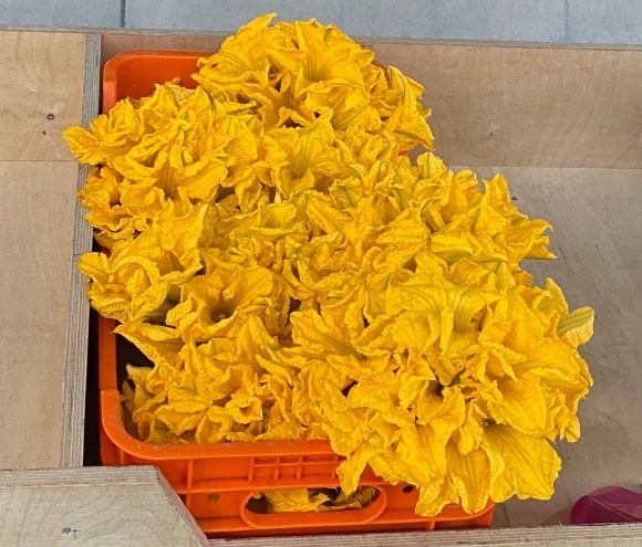 Zucchini flowers for sale at Paphos fruit and vegetable market