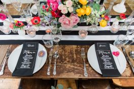 Colour pop and monochrome table- Elizabeth Weddings