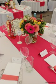 Bespoke cerise table runners