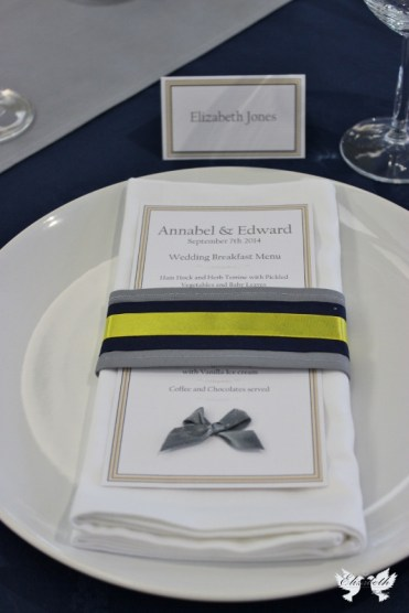 Bespoke fabric napkin ring and menu card- Elizabeth Weddings