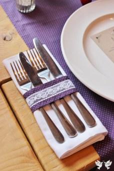 Matching bespoke napkin fabric ring and table runner- Elizabeth Weddings