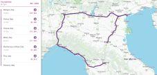 mapa do roteiro de trem pela Itália