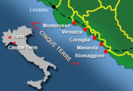 Mapa da Itália destacando Cinque Terre