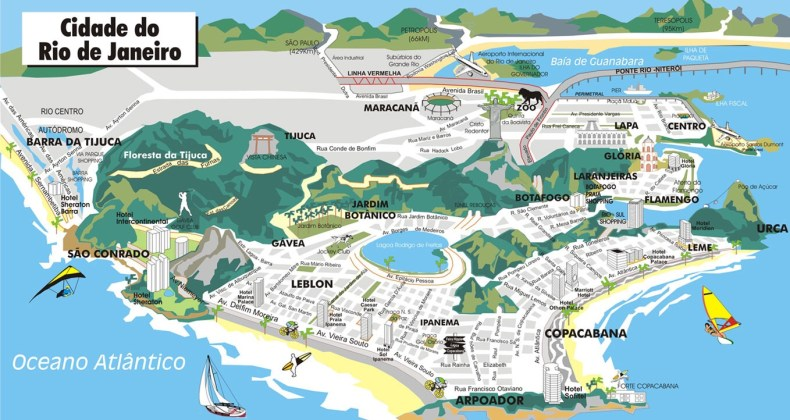 Mapa da Zona Sul do Rio de Janeiro.