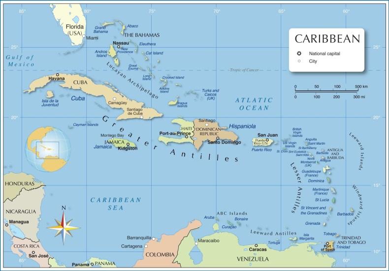 mapa do Caribe. Descubra tudo sobre o turismo em Aruba, essa maravilhosa ilha do Caribe.