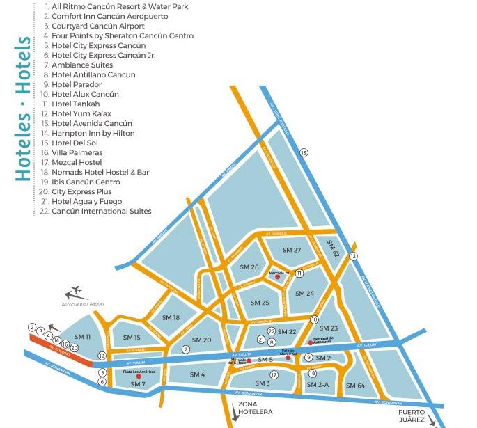Mapa de hotéis em Cancún