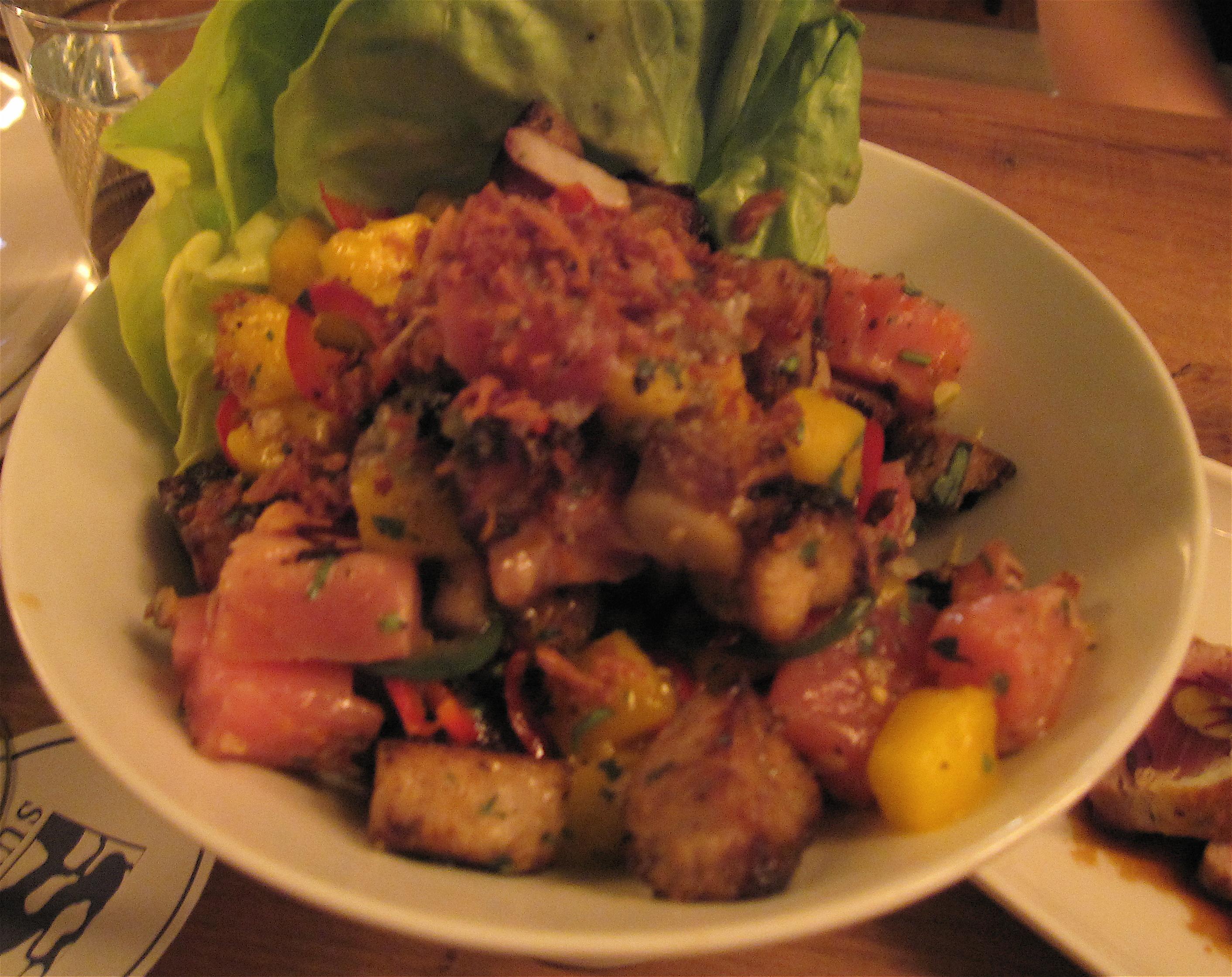 Grilled ahi tuna and pork salad