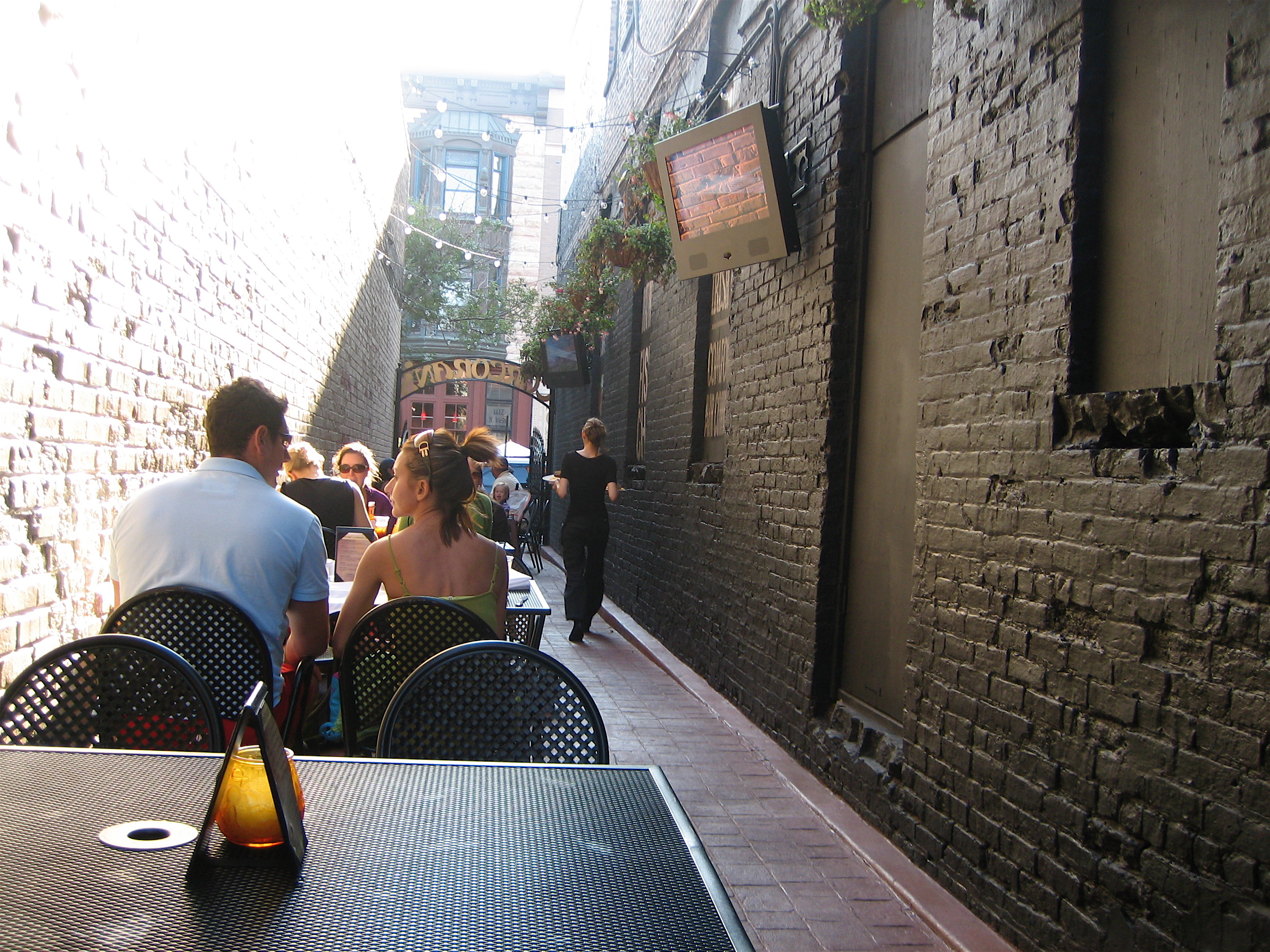 Cool alley, unnecessary TVs