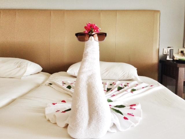 Jaz Aquamarine Towel Art - swan with sunglasses