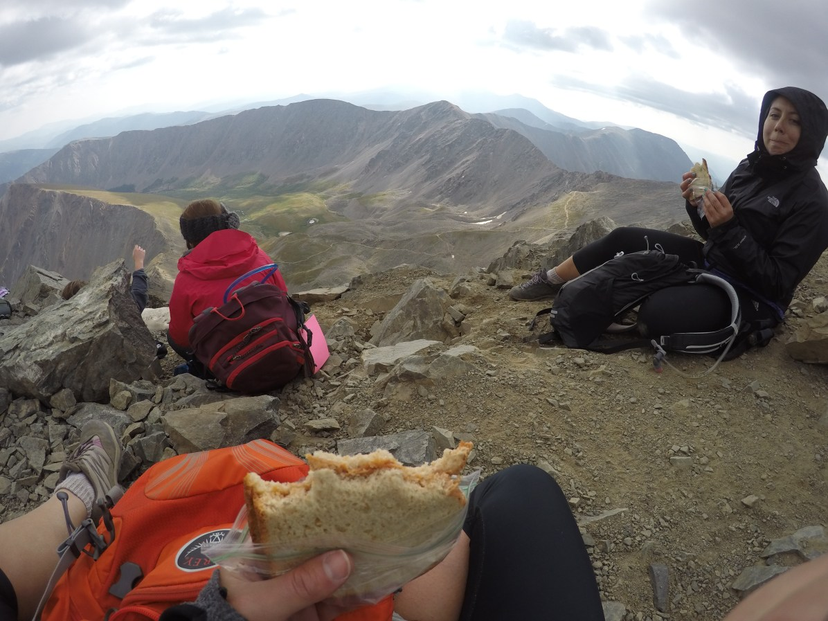 It isn't a 14er unless you eat a PB&J at the top.