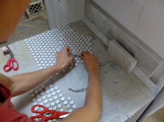 """Figuring out how to repeat the shape with as little tile """"waste"""" as possible."""