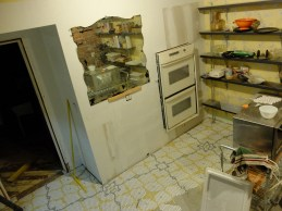 The first swath of the kitchen dry set. (And the mirror makes an appearance!)