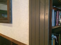 Scouting for reno ideas. Chicken wire plastered on drywall. (Stay tuned). @ Birch Coffee.