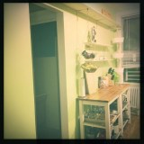 And a quick kitchen remodel. New shelving @ my sister's Astoria bungalow.