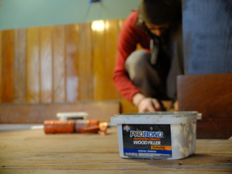 Our trusty wood fill in action.
