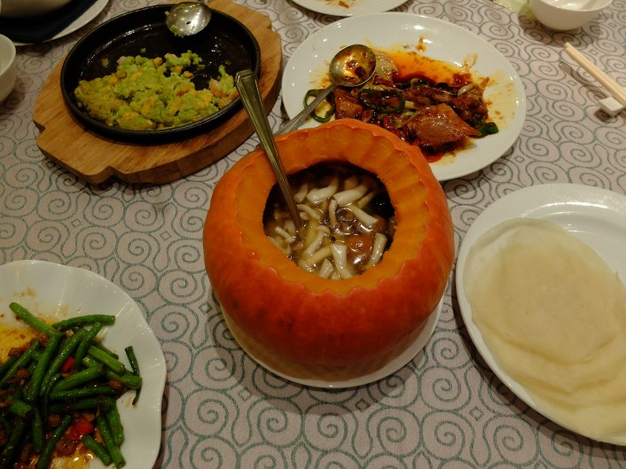 Yummy mushroom soup in a pumpkin pot!