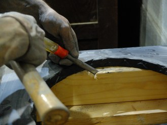 Chipping out the 2x4 framing to accommodate the sink basin. It's always something...