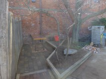 Three levels! (Look at the entrance to the patio for our creative solution).
